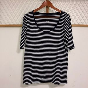 A NEW DAY Navy/White Striped Top